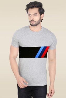 Lucfashion Grey Round Neck Graphic Printed T-Shirt