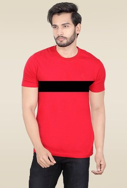 Lucfashion Red Scoop Neck Cotton T-Shirt