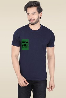 Lucfashion Navy Scoop Neck Printed T-Shirt