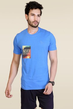 Lucfashion Light Blue Scoop Neck T-Shirt