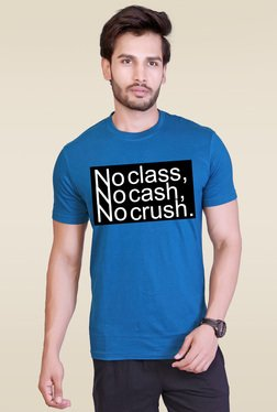 Lucfashion Blue Round Neck Cotton T-Shirt