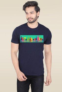 Lucfashion Navy Round Neck Cotton T-Shirt