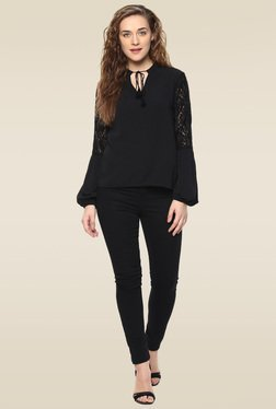 Femella Black Full Sleeves Top