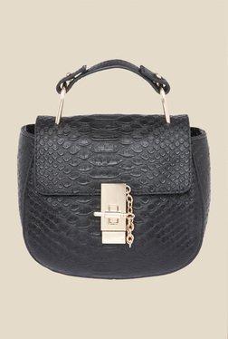 Fur Jaden Black Snake Skin Textured Saddle Bag