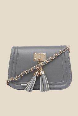 Fur Jaden Dark Grey Fringed Sling Bag