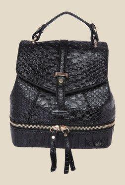 Fur Jaden Black Snake Skin Textured Sling Bag