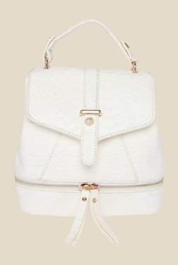 Fur Jaden White Snake Skin Textured Sling Bag