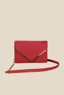 Shoetopia Red Quilted Sling Bag
