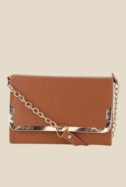 Shoetopia Tan Frame Design Sling Bag