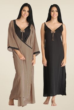 Clovia Black Solid Nightie With Robe