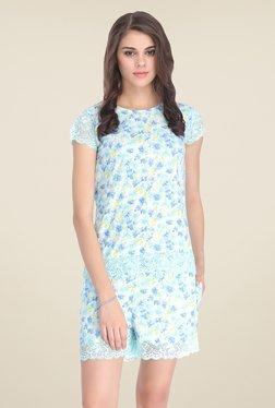 Clovia Blue Floral Print Short Set