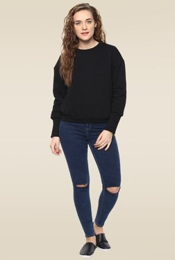 Femella Black Full Sleeves Sweatshirt