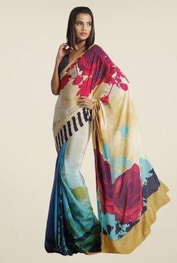 Satya Paul Blue Floral Print Crepe Saree
