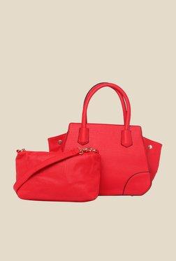 Fur Jaden Red Solid Trapeze Bag With Sling Bag
