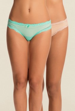 PrettySecrets Green & Beige Lace Bikini Panties (Pack Of 2)