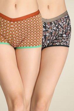 Clovia Black & Brown Printed Boyshorts Panties (Pack Of 2)