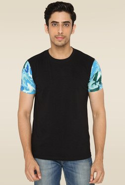 Lucfashion Black Round Neck Cotton T-Shirt