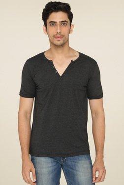 Lucfashion Grey V-neck Cotton T-Shirt