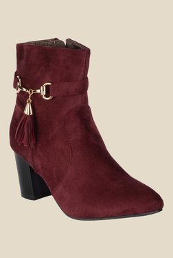 Nell Maroon Casual Booties