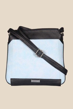 Esbeda Light Blue And Black Top Zip Sling Bag