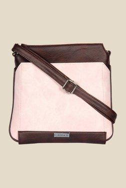 Esbeda Pink And Brown Top Zip Sling Bag
