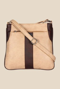Esbeda Beige And Brown Top Zip Sling Bag