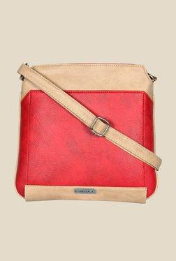 Esbeda Red And Beige Top Zip Sling Bag