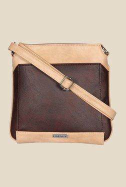 Esbeda Brown And Beige Top Zip Sling Bag
