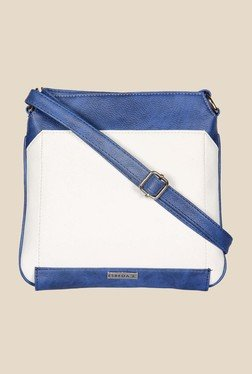 Esbeda White And Blue Top Zip Sling Bag