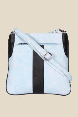 Esbeda Light Blue And Black Top Zip Sling Bag