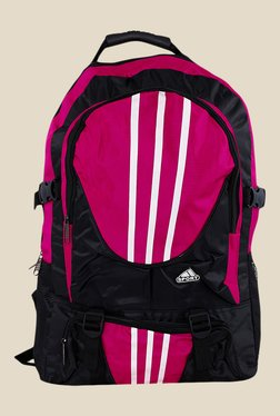 Shoetopia Pink And Black Stripe Backpack