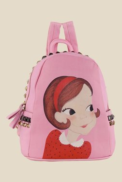 Shoetopia Pink Girl Printed Backpack