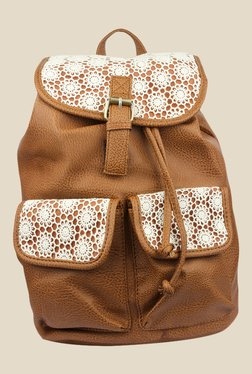 Shoetopia Brown Floral Design Backpack