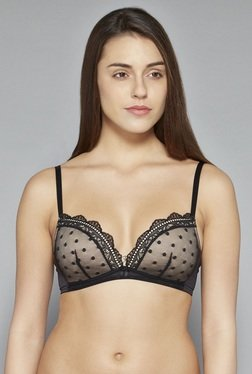 Wunderlove By Westside Black Padded Mesh Plunge Bra