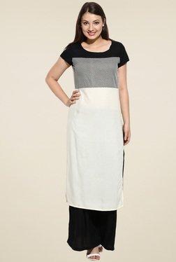 Avaana Off-White Short Sleeves Long Kurta