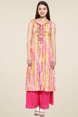 Avaana Pink Printed Sleeveless Kurta