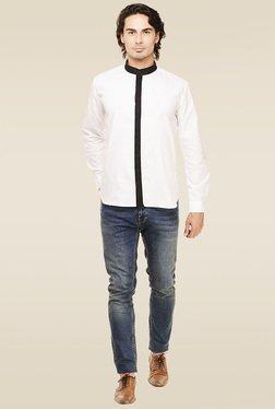 Rigo White Mandarin Collar Cotton Shirt