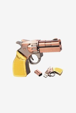 Microware Gun Golden Metal Shape 16 GB Pen Drive(Brown/Gold)