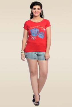 Zola Red Round Neck T-Shirt