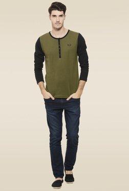 Rigo Army Green Full Sleeves T-Shirt