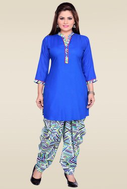 Zola Blue 3/4th Sleeves Kurta With Patiyala