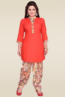 Zola Red 3/4th Sleeves Kurta With Multicolor Patiyala