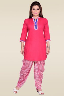 Zola Pink 3/4th Sleeves Kurta With Printed Patiyala