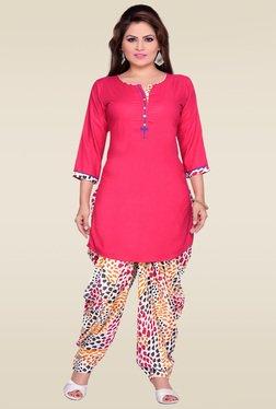 Zola Pink Kurta With Multicolor Printed Patiyala