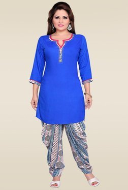 Zola Blue Rayon Kurta With Patiyala