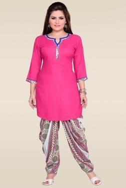 Zola Pink 3/4th Sleeves Kurta With Patiyala