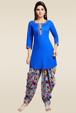 Zola Royal Blue Round Neck Kurta With Patiyala