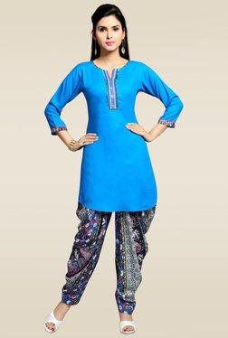 Zola Blue 3/4th Sleeves Kurta With Printed Patiyala