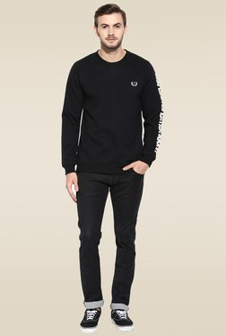Rigo Black Round Neck Slim Fit Sweatshirt