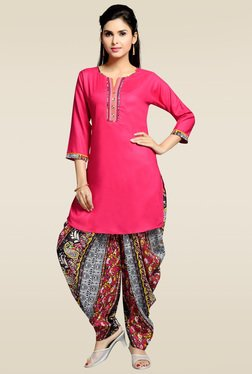 Zola Dark Pink 3/4th Sleeves Kurta With Patiyala